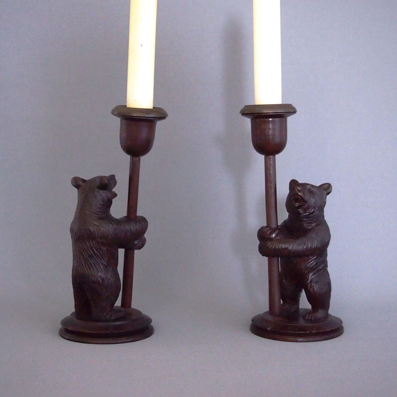 Black Forest Carved Bear Candlesticks