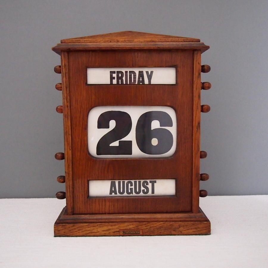 Large Oak Perpetual Desk Calendar Antique C1910