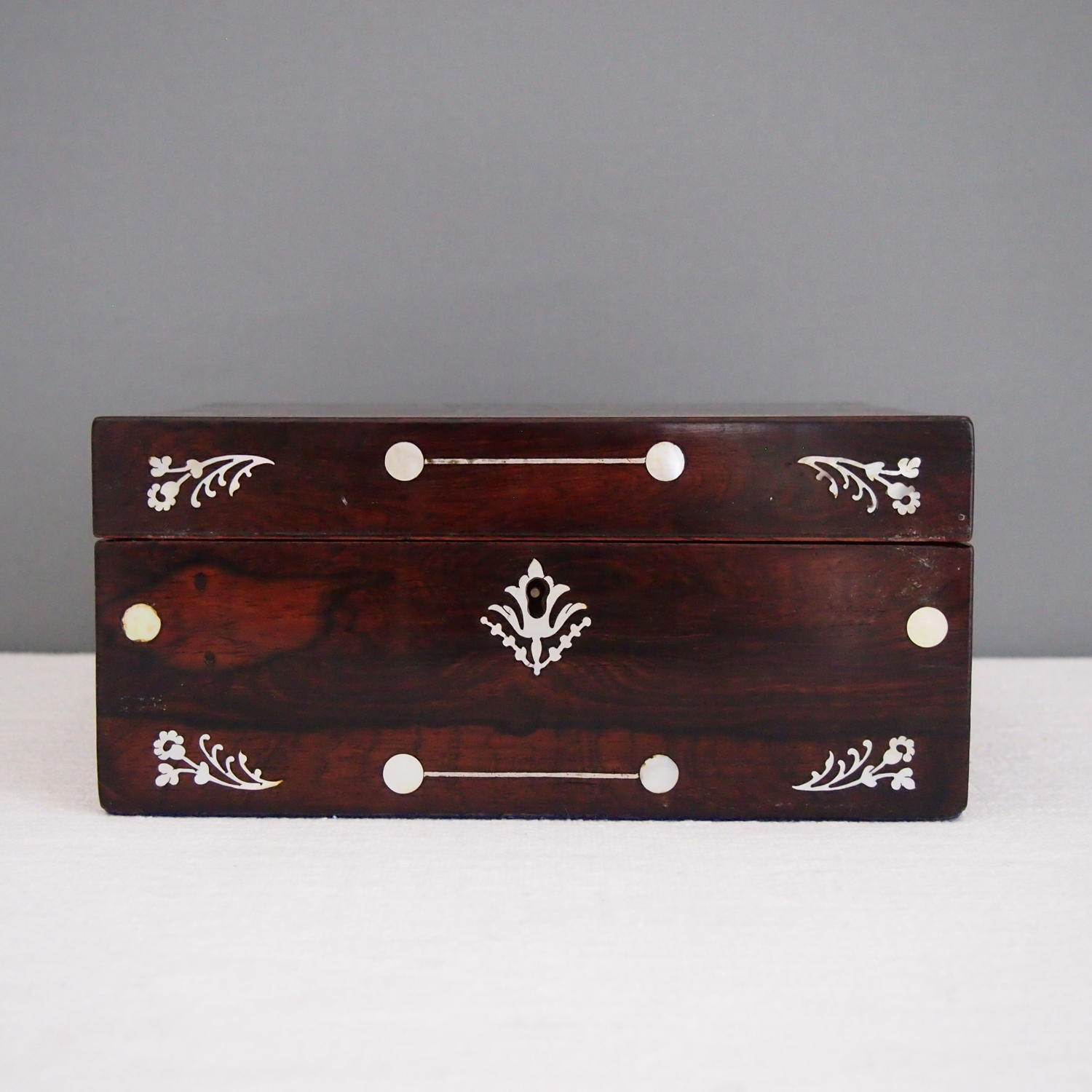 Mother of Pearl inlaid Mahogany Box c 1910
