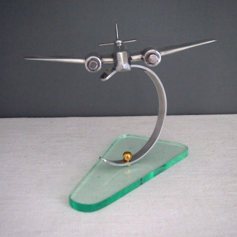 Aluminium Deco model plane c 1950