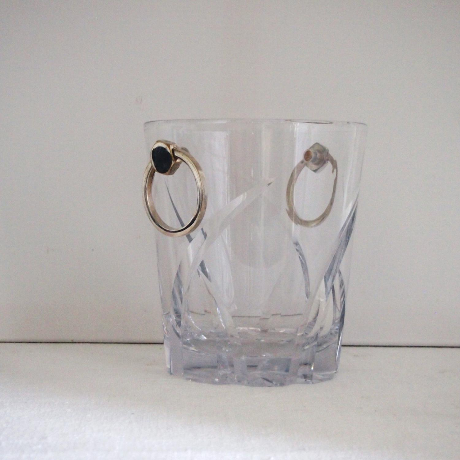 Champagne bucket cut glass & silver plated handles