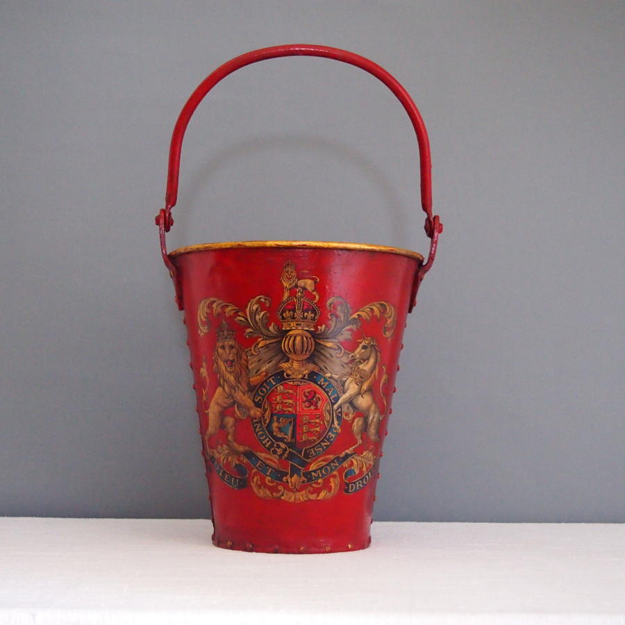 Crested Red Painted Fire Bucket