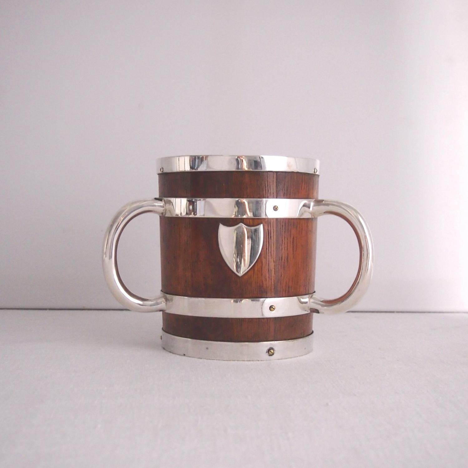 Oak and Silver Plated Tankard or Tigg