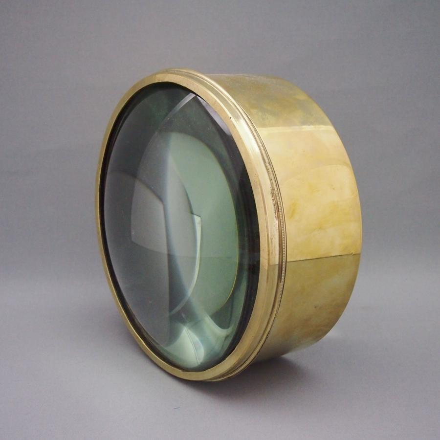 Large Brass Library Lens Magnifier Vintage C1910.