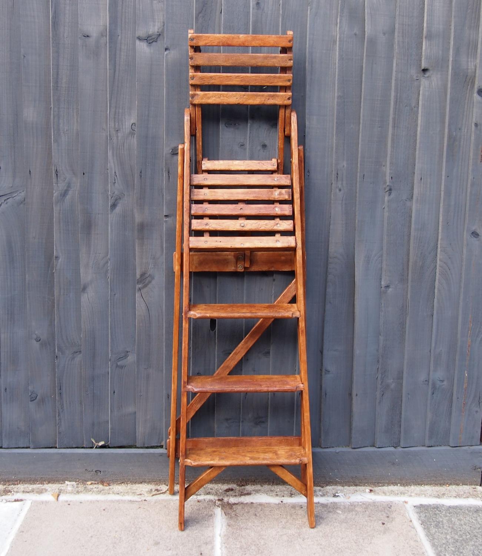 Library Folding Ladder with bookshelf C1920s
