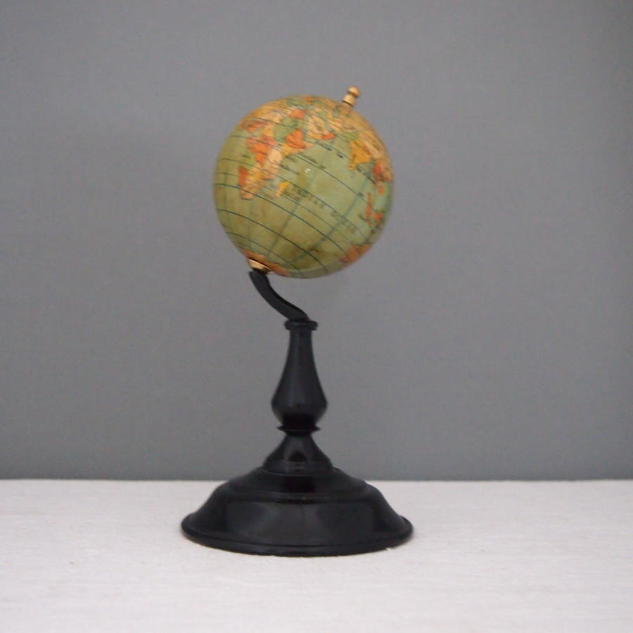 Small Vintage desk Globe on turned stand C1950s