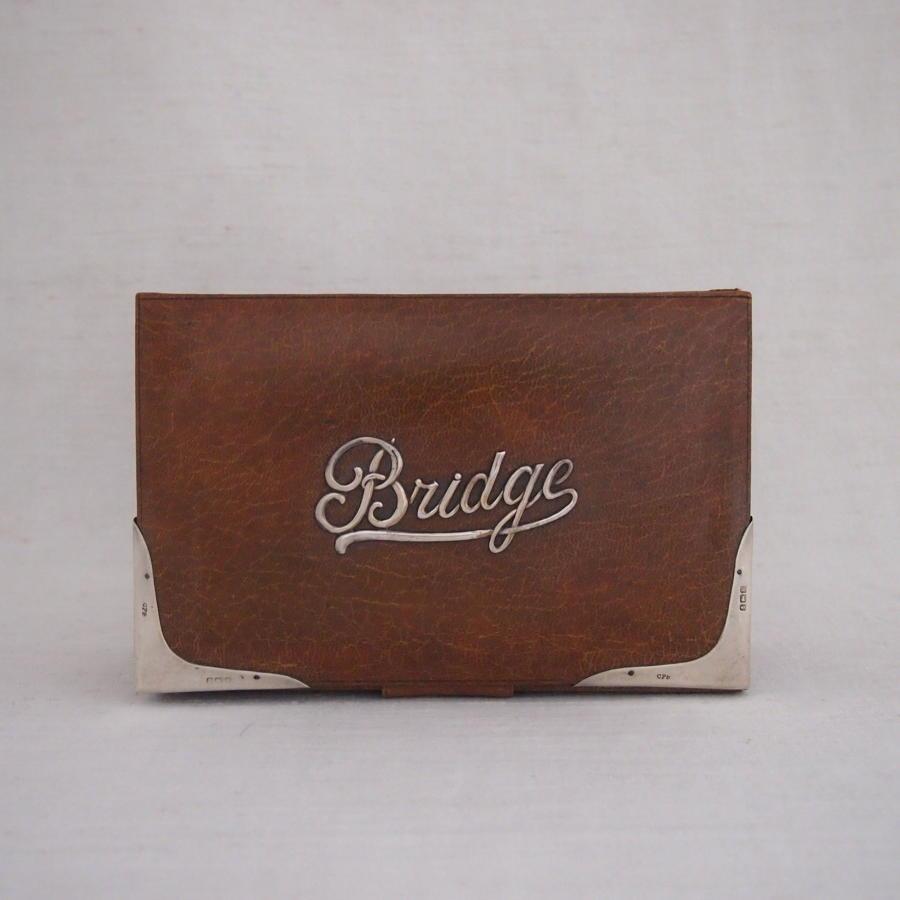 Silver Mounted Antique Leather Bridge Box 1909