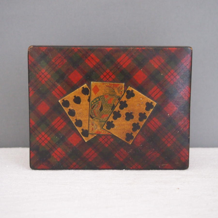 Victorian Tartan Ware Antique Playing Card Box