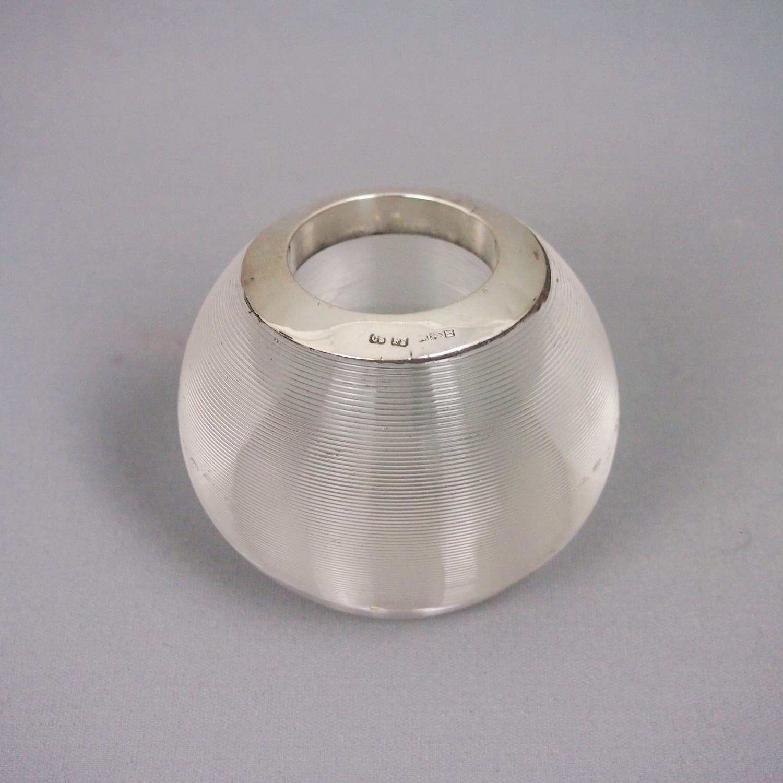 Silver Rimmed  Ribbed Glass Match Striker 1891