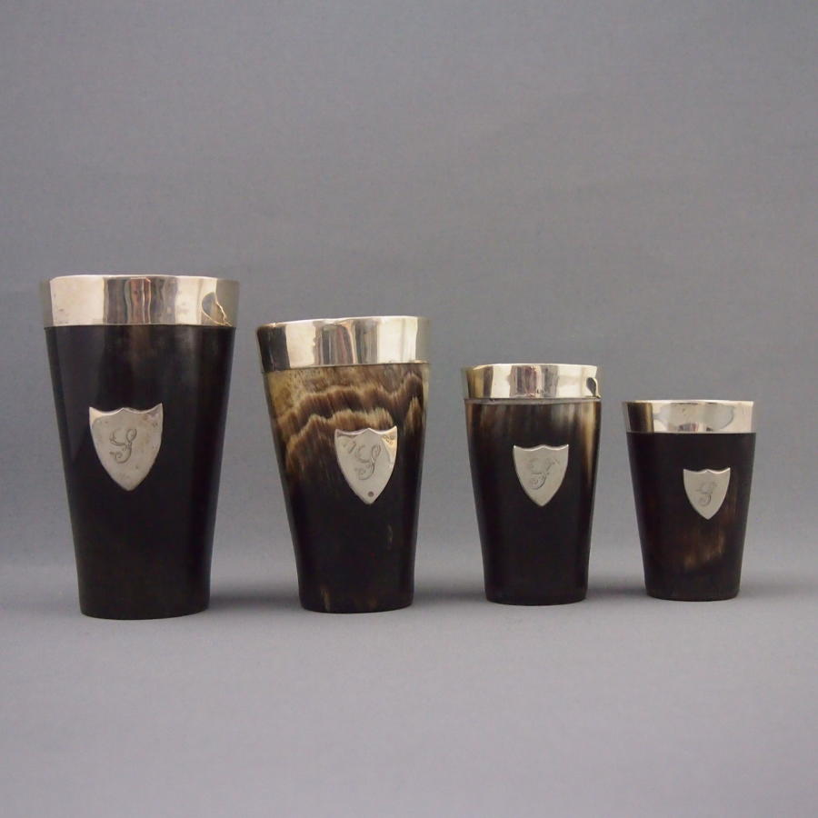 Set of Horn Cups Silver Rimmed 1910