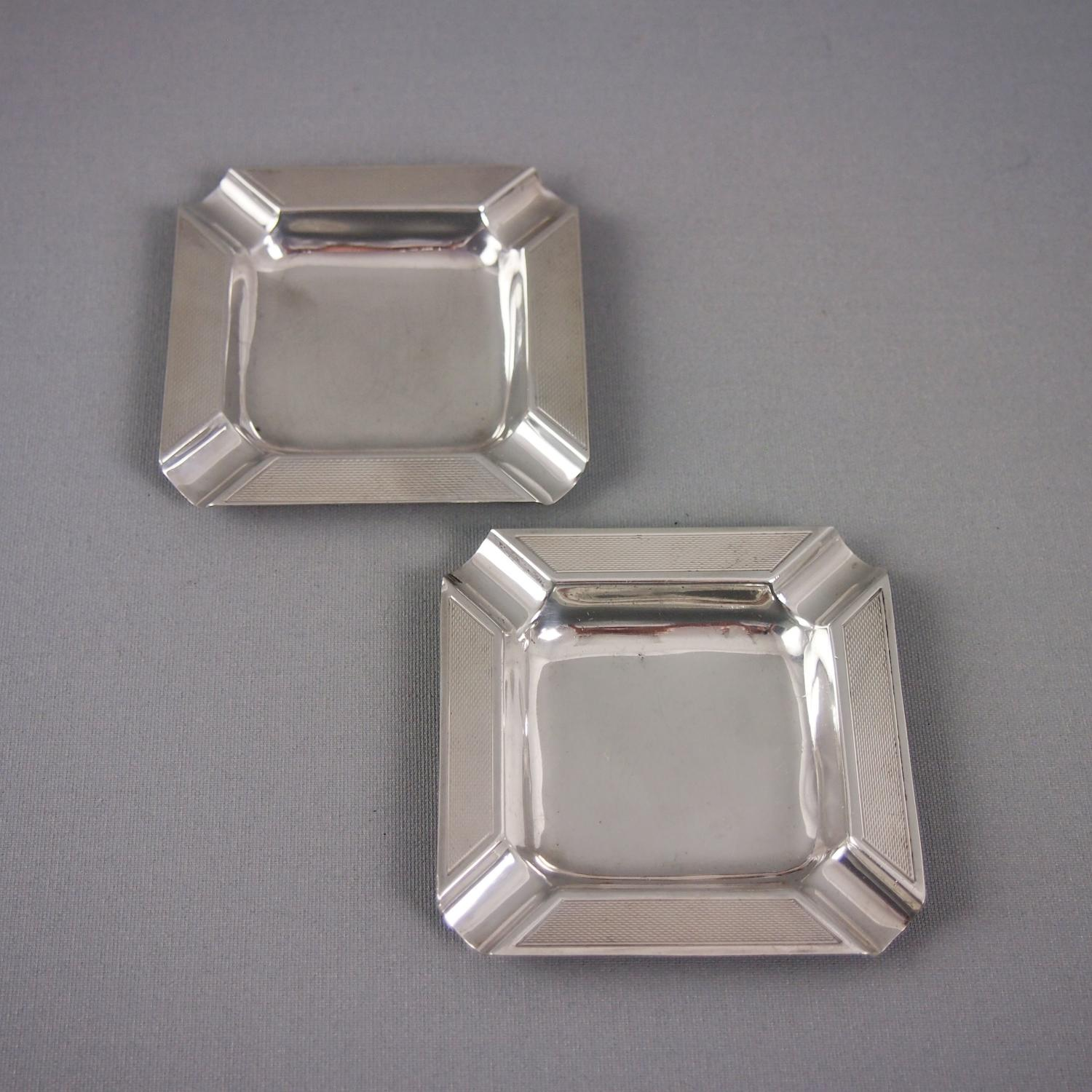 Pair of Silver Ashtrays Birmingham 1950s