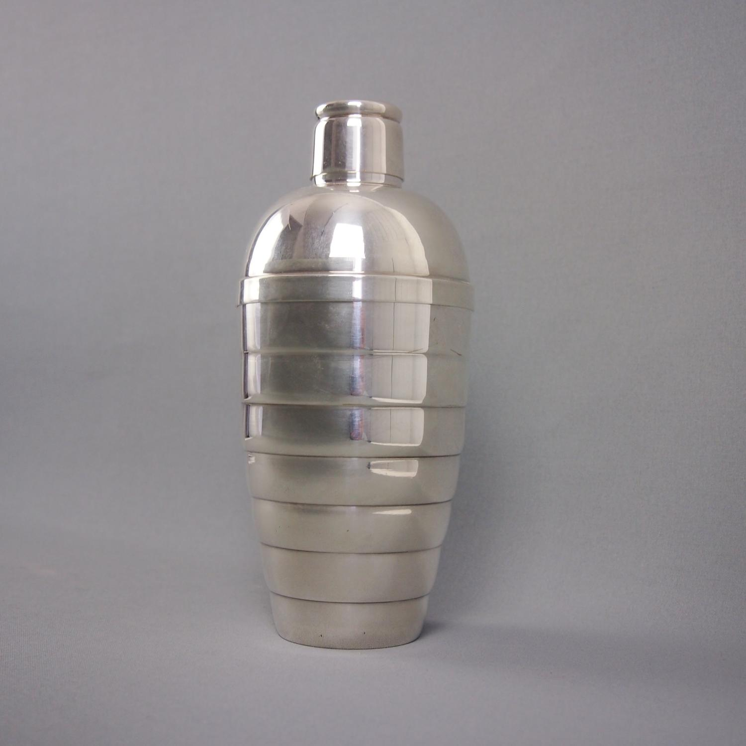 Silver Plated Ridged Vintage Cocktail Shaker C1940s