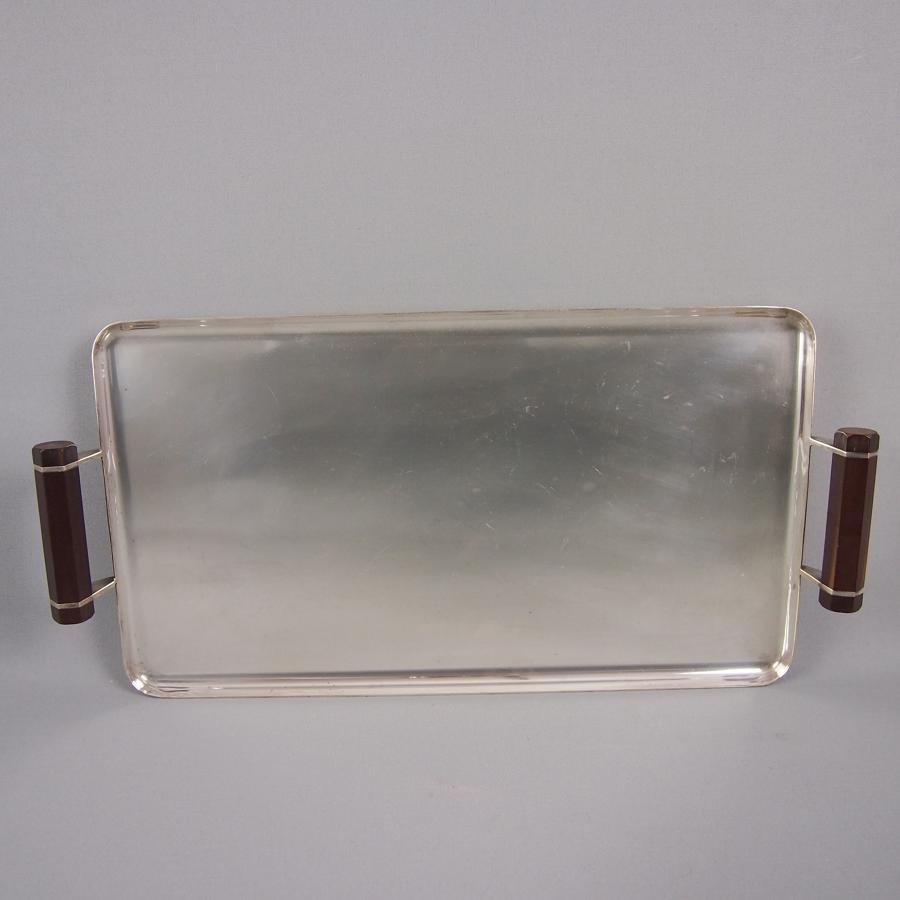 Art Deco Silver Plated Tray with Bakelite Handles