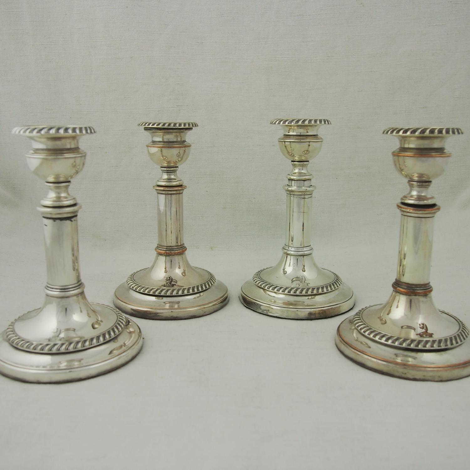 Silver Plated Victorian Set of Crested Candlesticks