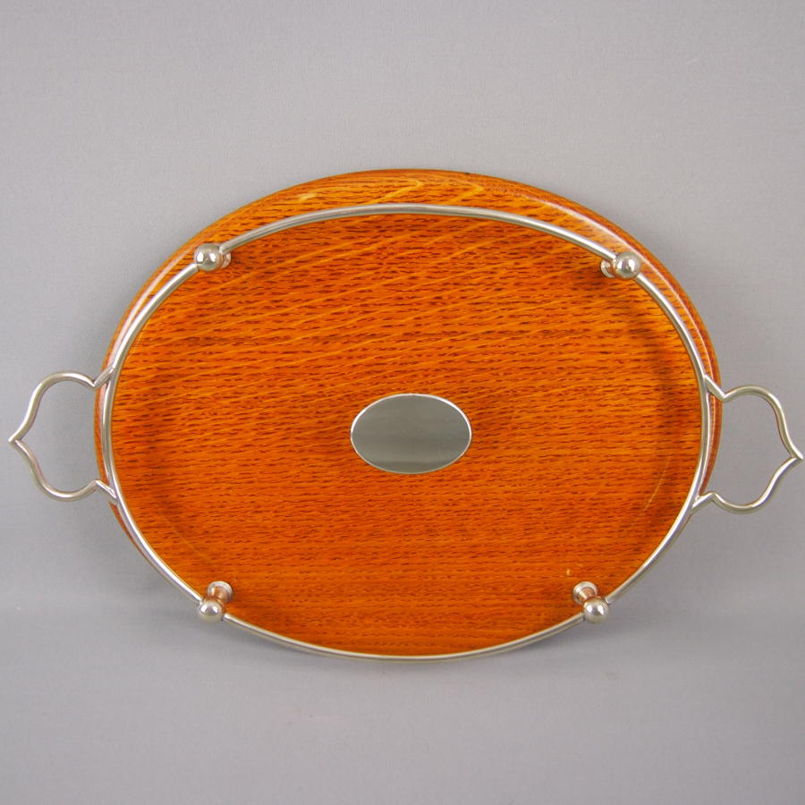 Oak & Silver Plated Oval Tray C1910