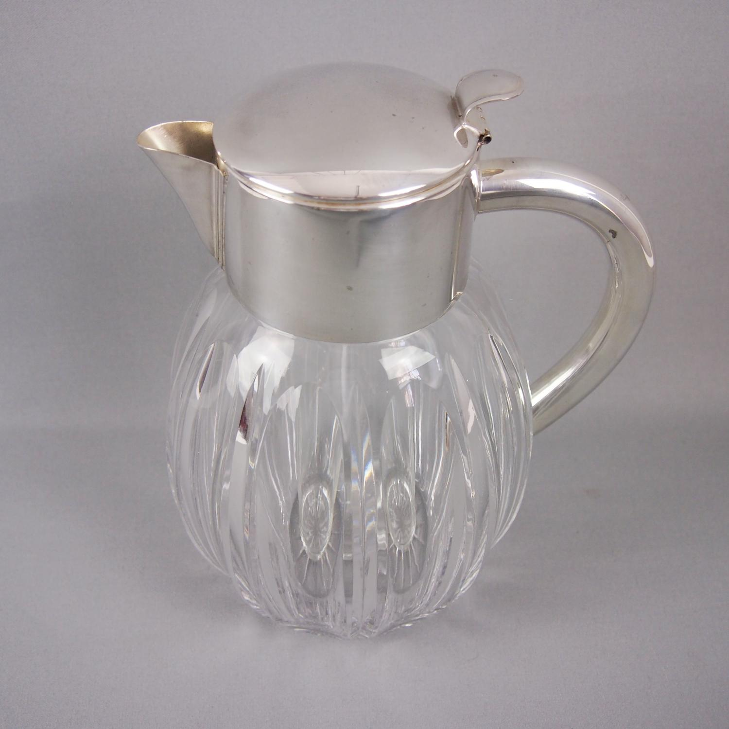 Lemonade Jug Silver Plated & Cut Glass C1940s