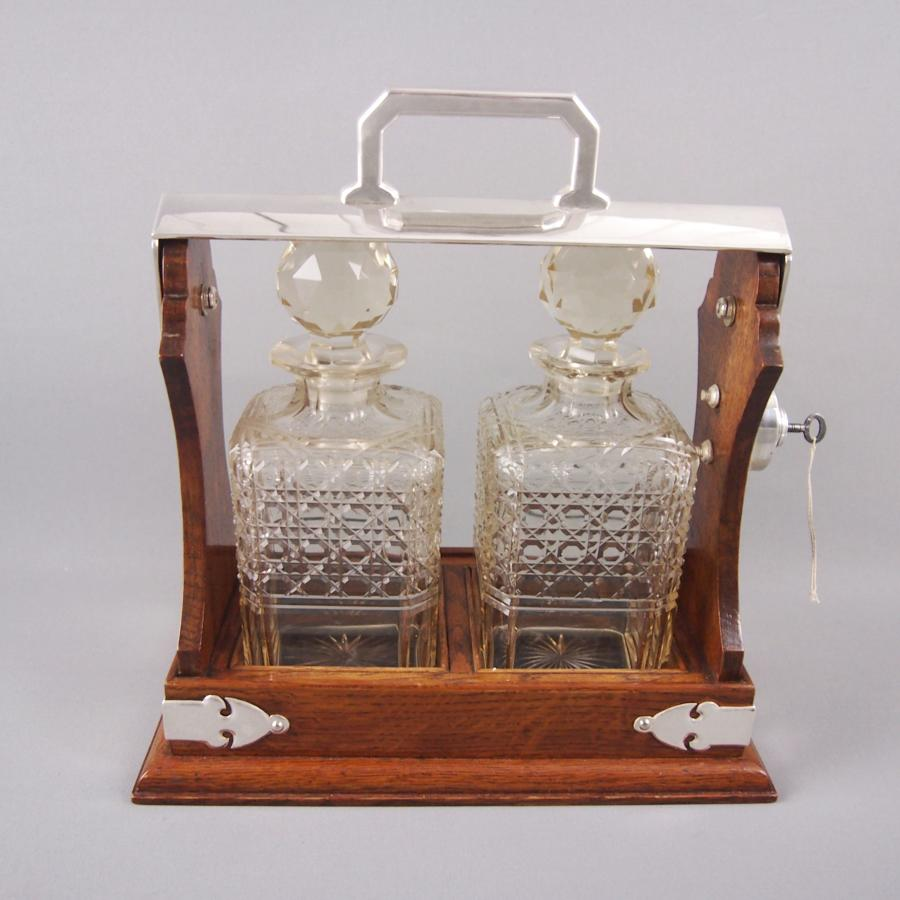 Oak & Silver Plated Two Bottle Tantalus