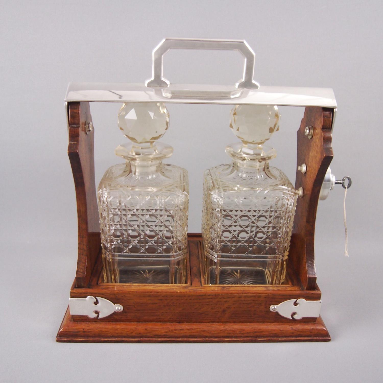 Oak & Silver Plated Two Bottle Tantalus