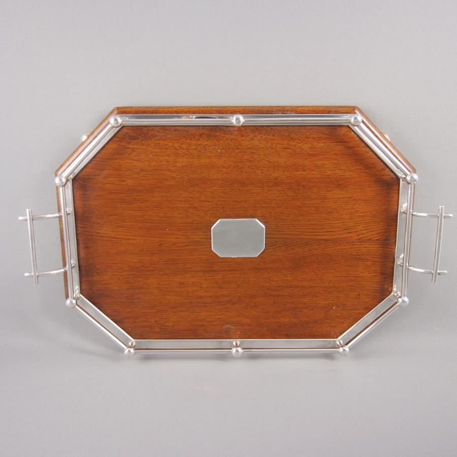 Oak & Silver Plated Oblong Tray