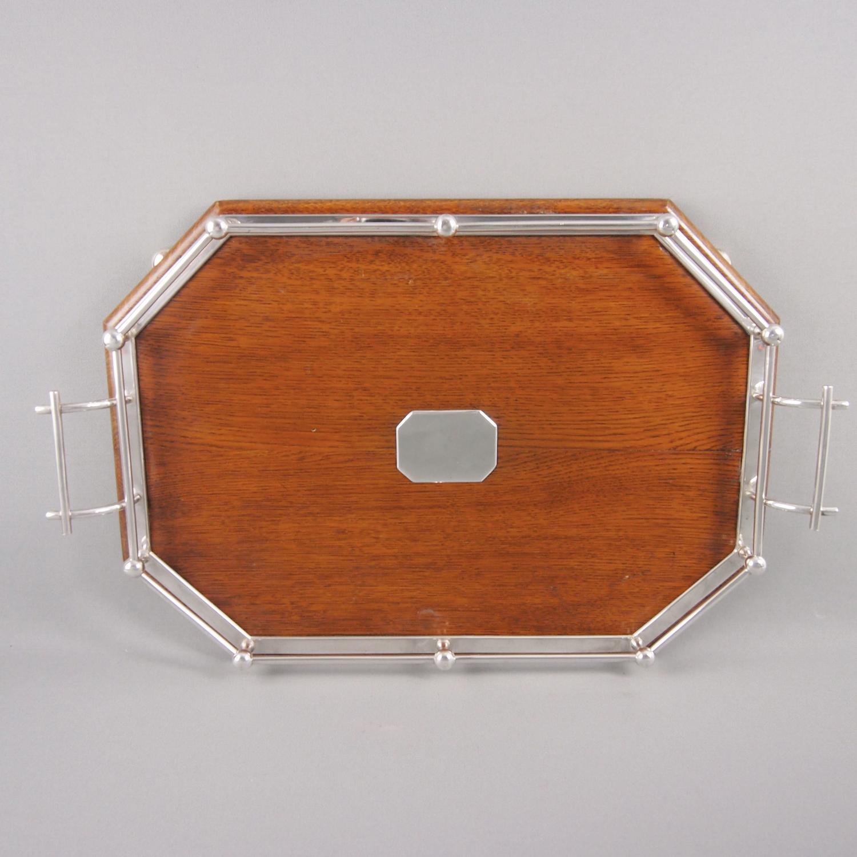 Oak & Silver Plated Oblong Tray