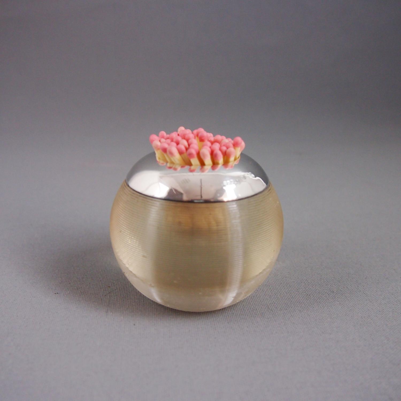 Vintage Silver & Ribbed Glass Match Striker