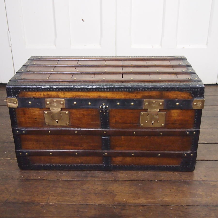 French Storage Trunk Wood & Metal Banded