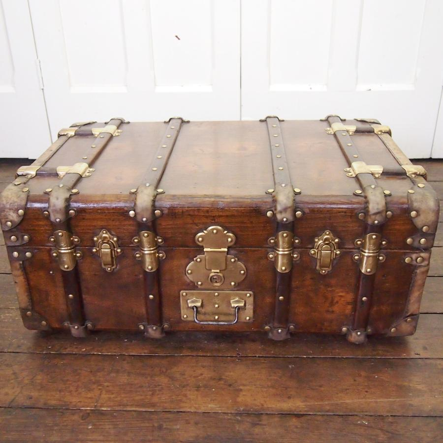 French Storage Trunk Wood, Brass & Vellum