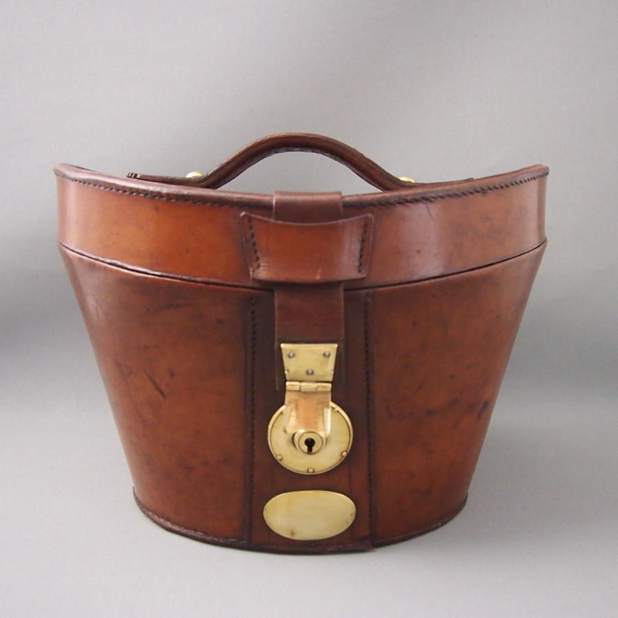 Shaped Hide Leather Top Hat Box