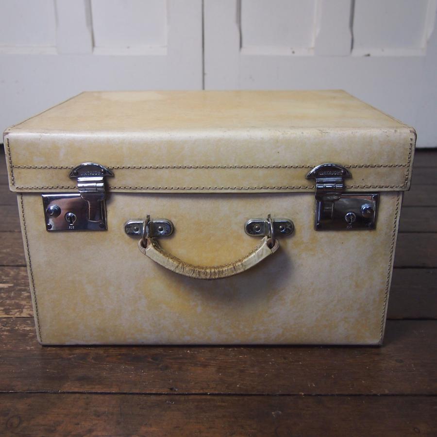 Vellum Square Hat Box with Chrome Locks