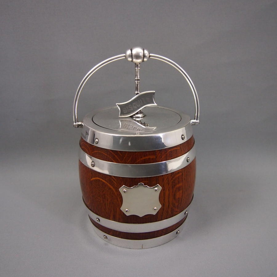 Oak and Silver Plated  Flip Top Antique Biscuit Barrel