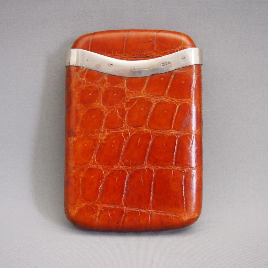 Crocodile Leather &English Silver Mounted cigar case