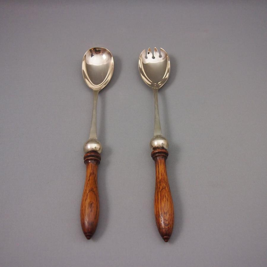 Pair of Antique Oak & Silver Plated Decorative Servers