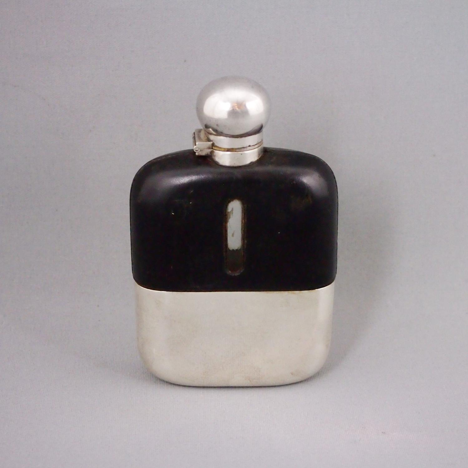 Silver Plate & Black Leather Hip Flask