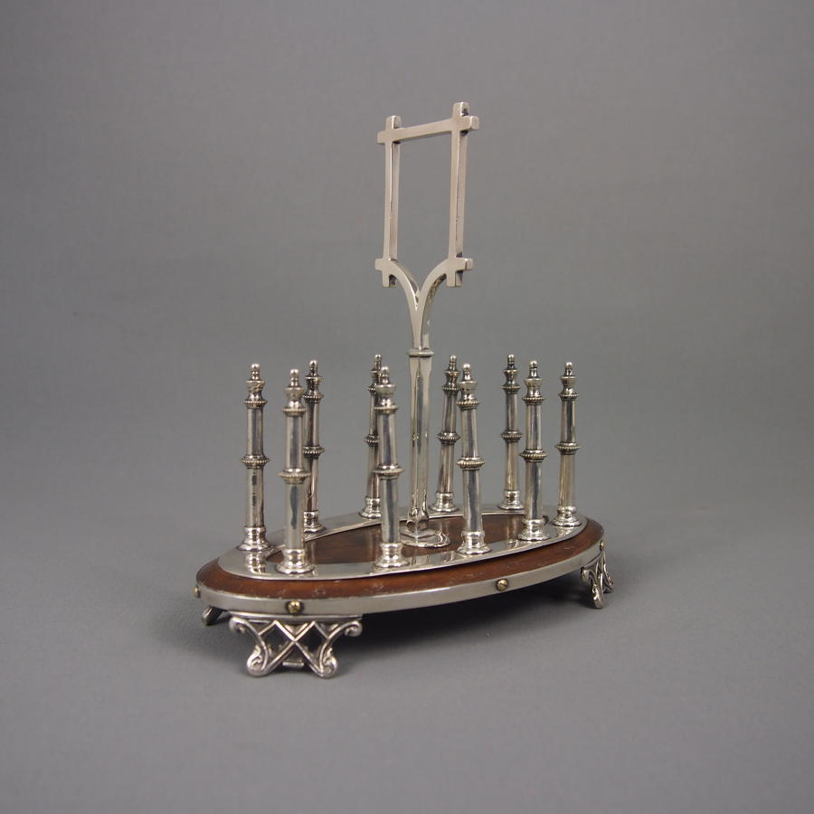 Oak & Silver Plated Gothic Victorian Toast Rack