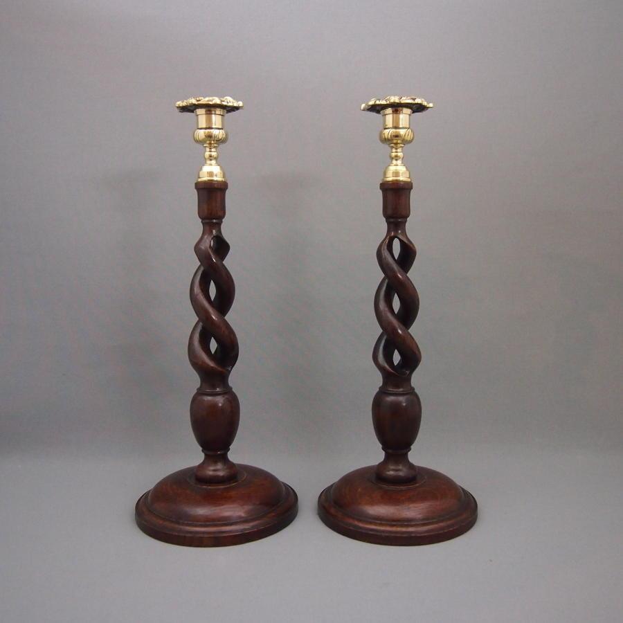Pair of Tall Oak Open Twist Antique Candlesticks
