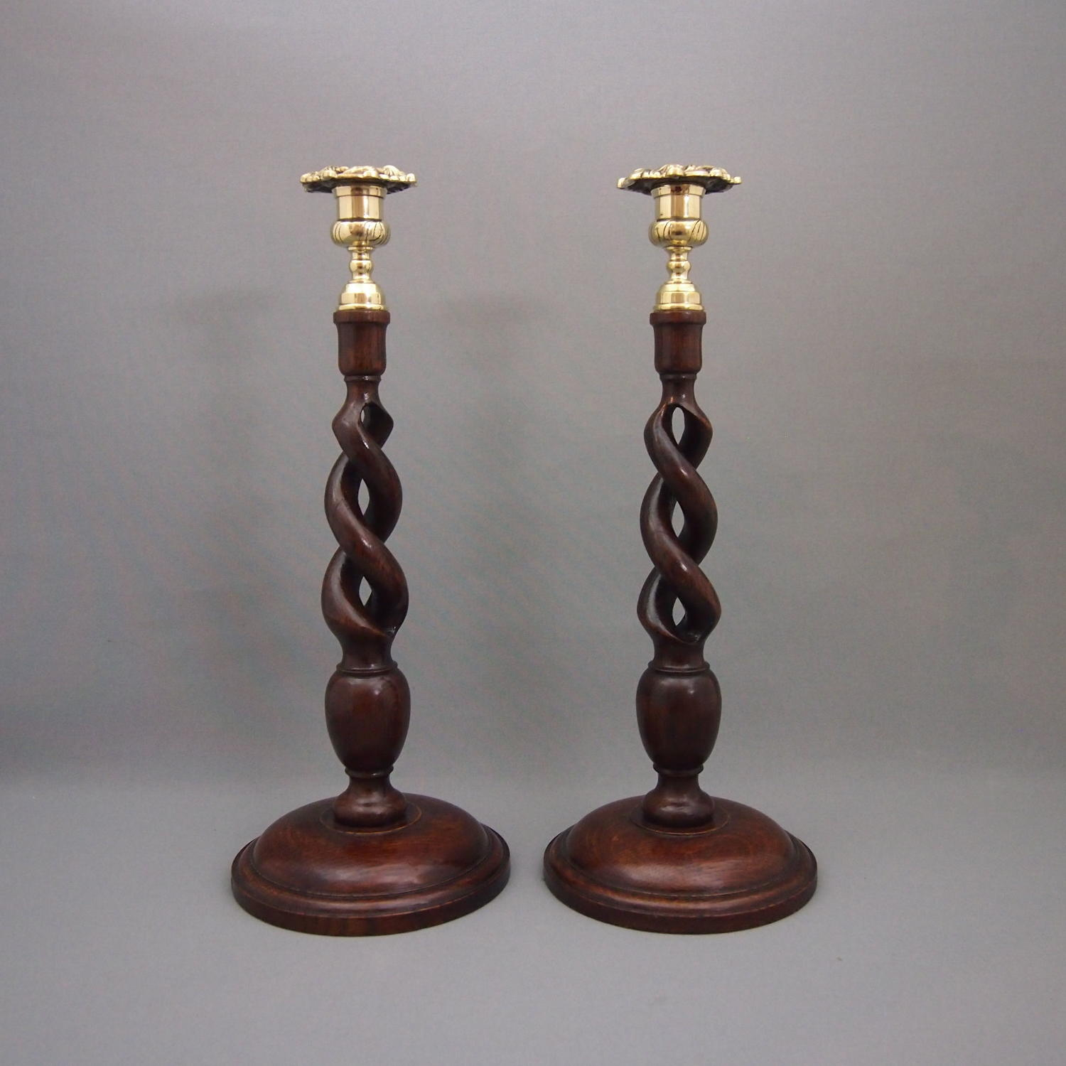 Pair of Tall Oak Open Twist Antique Candlesticks