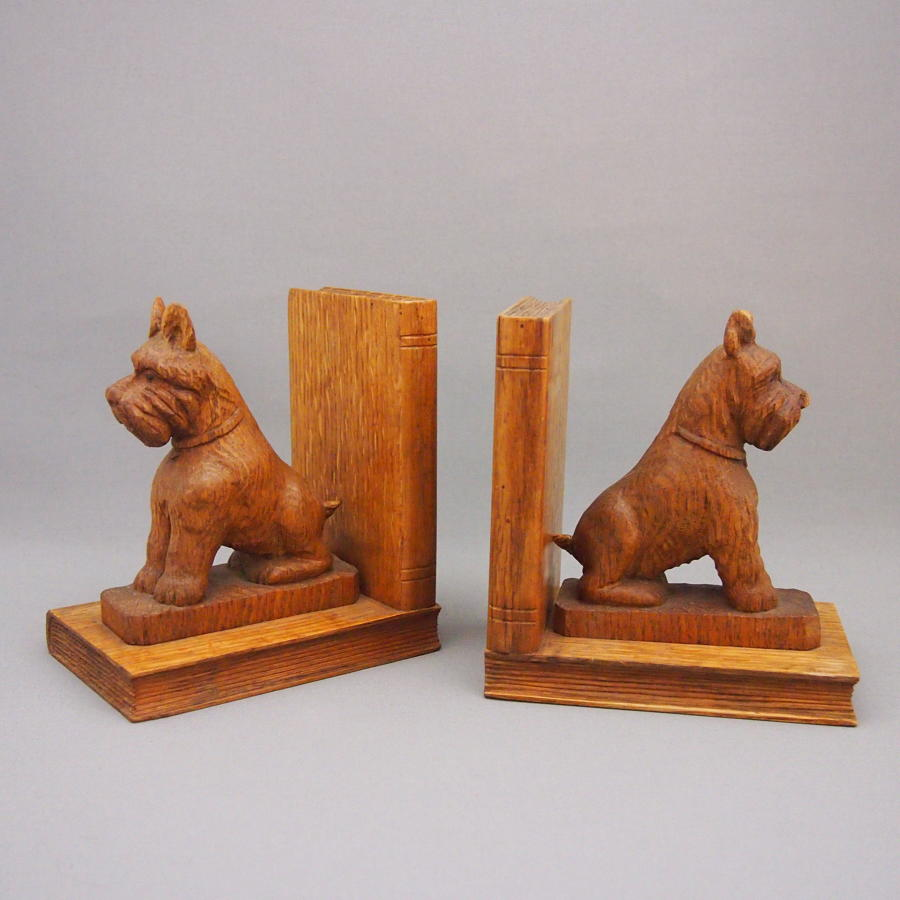 Pair of Oak Carved Terrier Dog Vintage Bookends