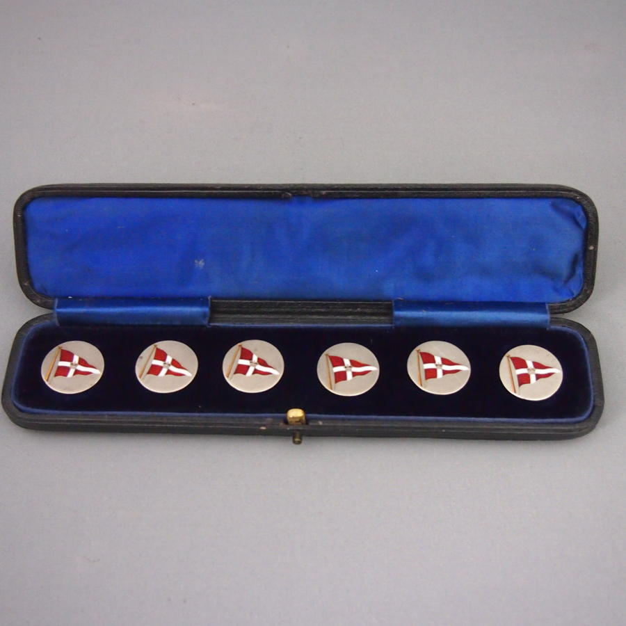 Rare Enamelled Silver Antique Yacht Flag Buttons