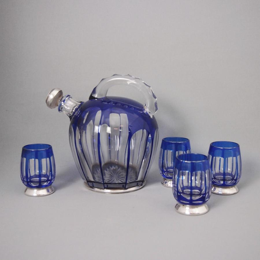 Rare French Vintage Silver & Cobalt Blue Glass Decanter Set