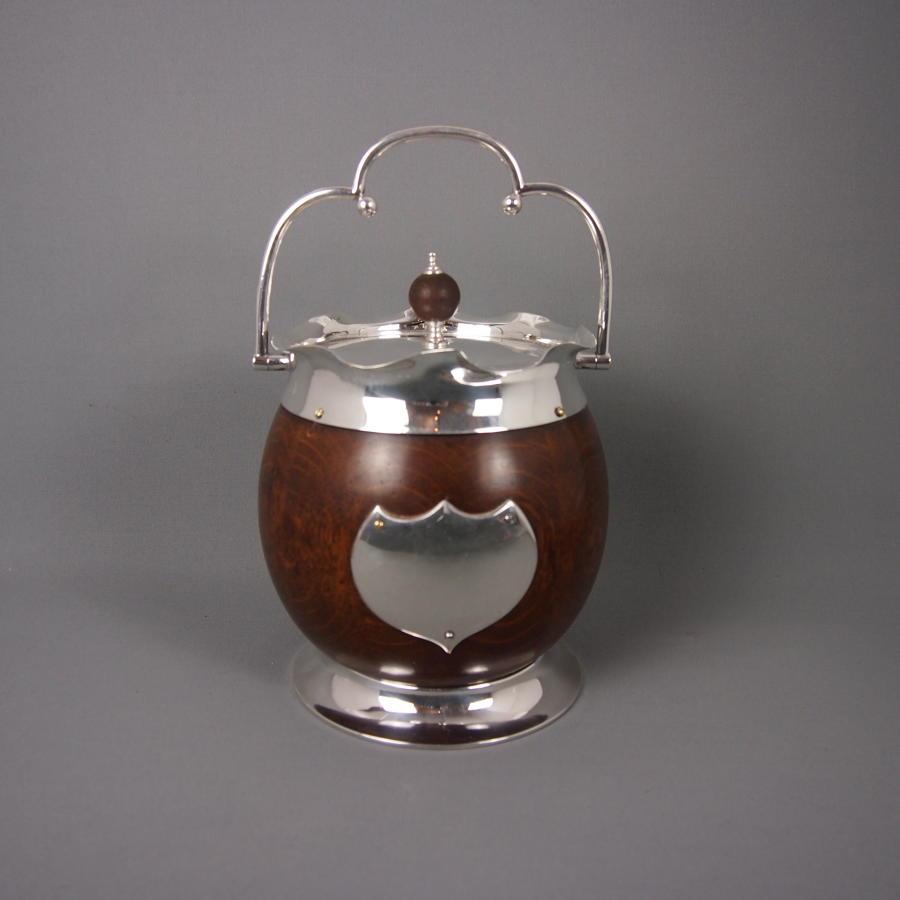 Oak & Silver Plated Unusual & Large Biscuit Barrel