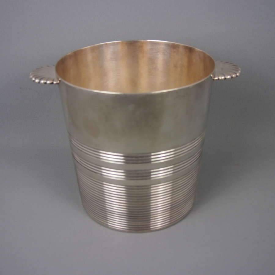 Ribbed Deco Silver Plated Vintage Champagne Bucket.