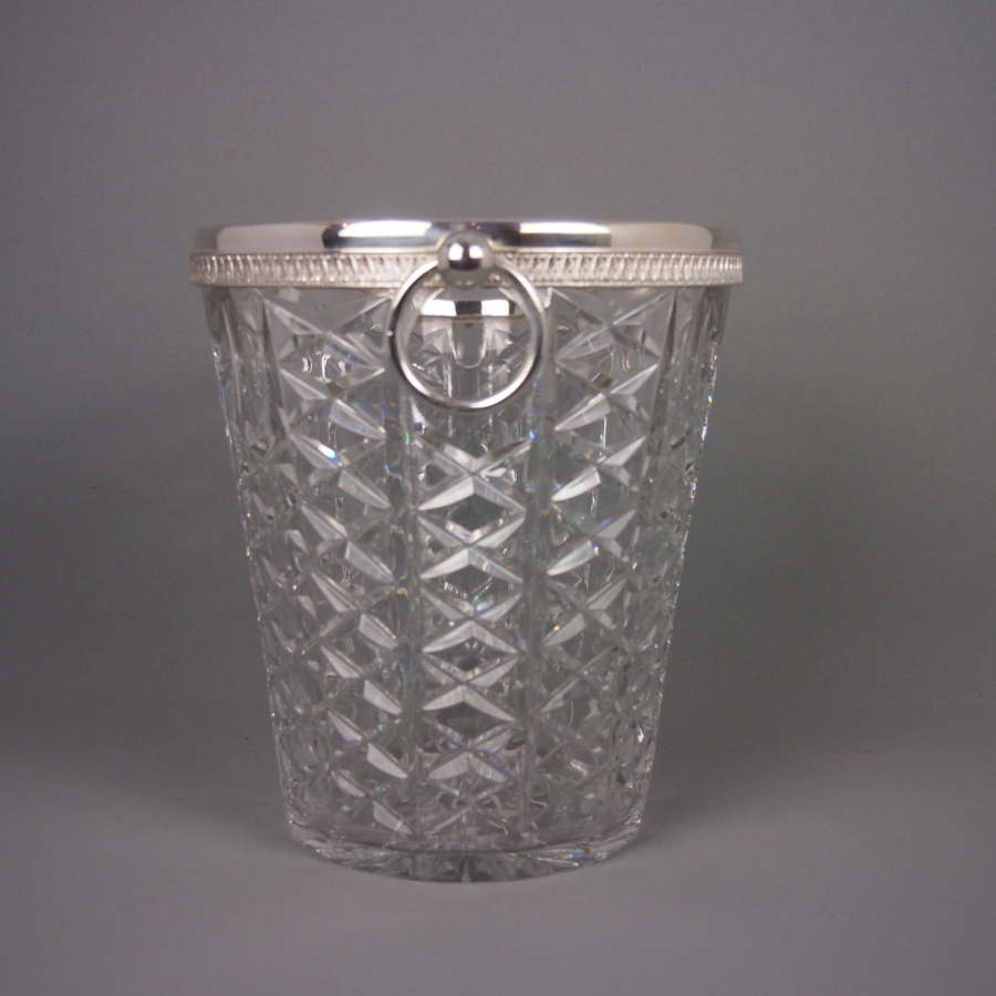 Cut Glass & Silver Plated Vintage Champagne Bucket
