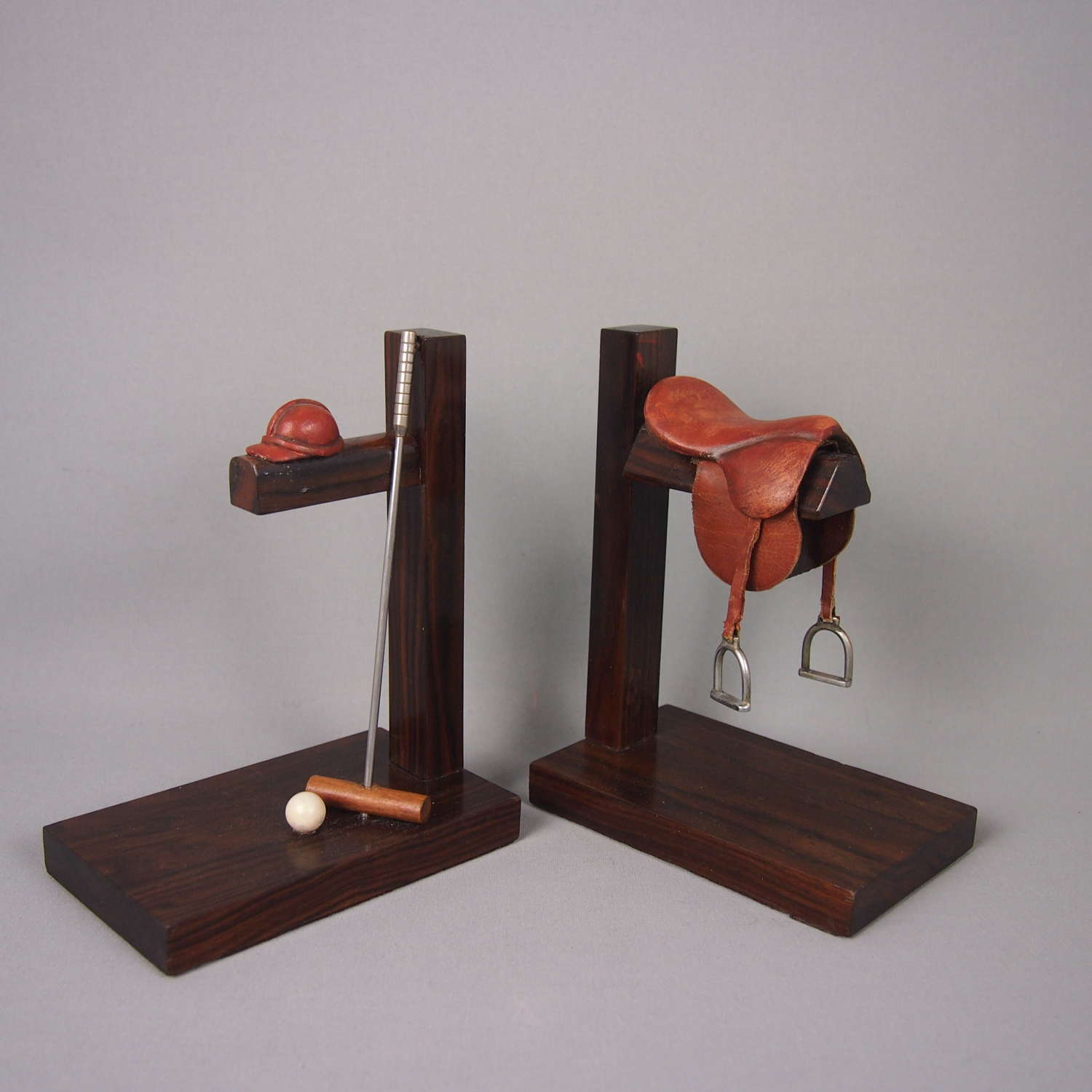 Pair of Mahogany French Polo Bookends C1950s.