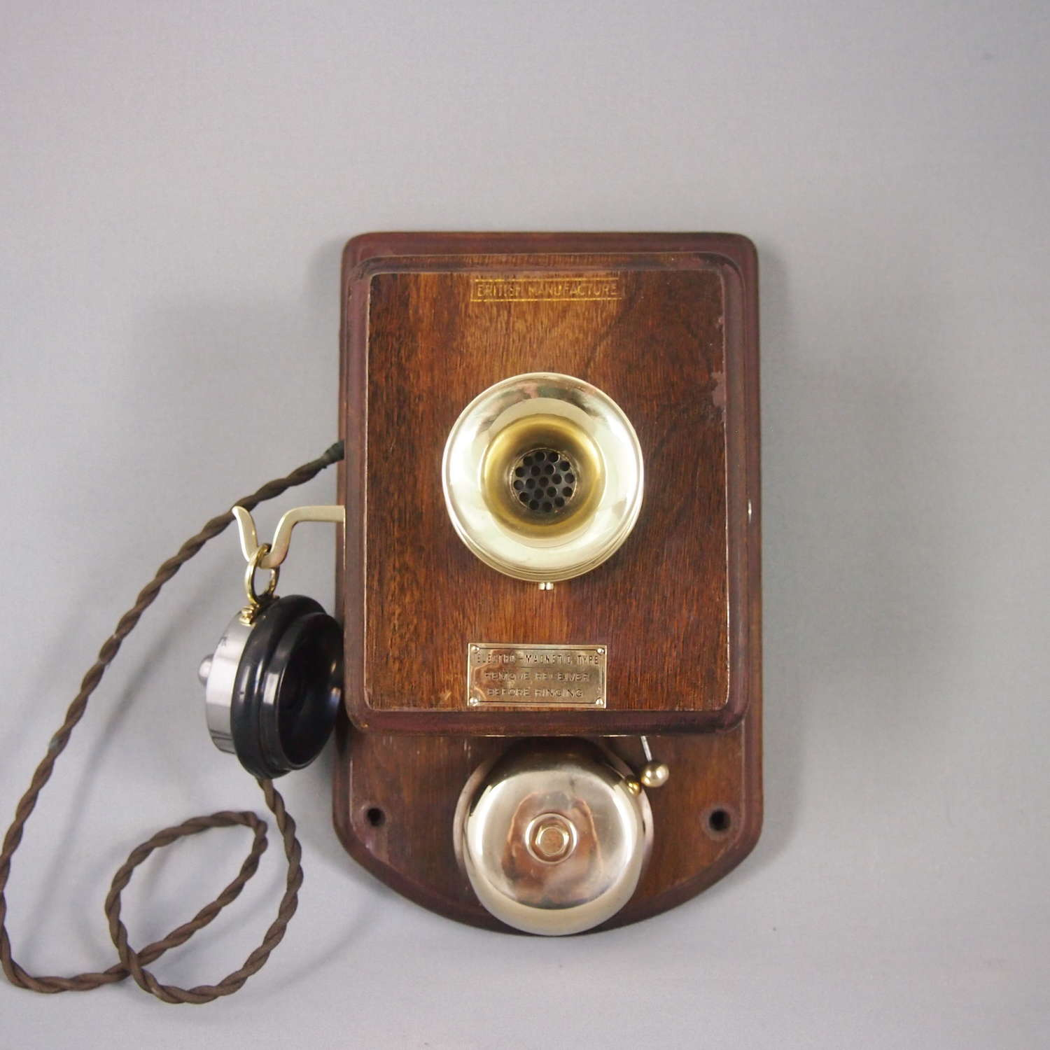 Vintage Wood & Brass Wall Telephone. W8475