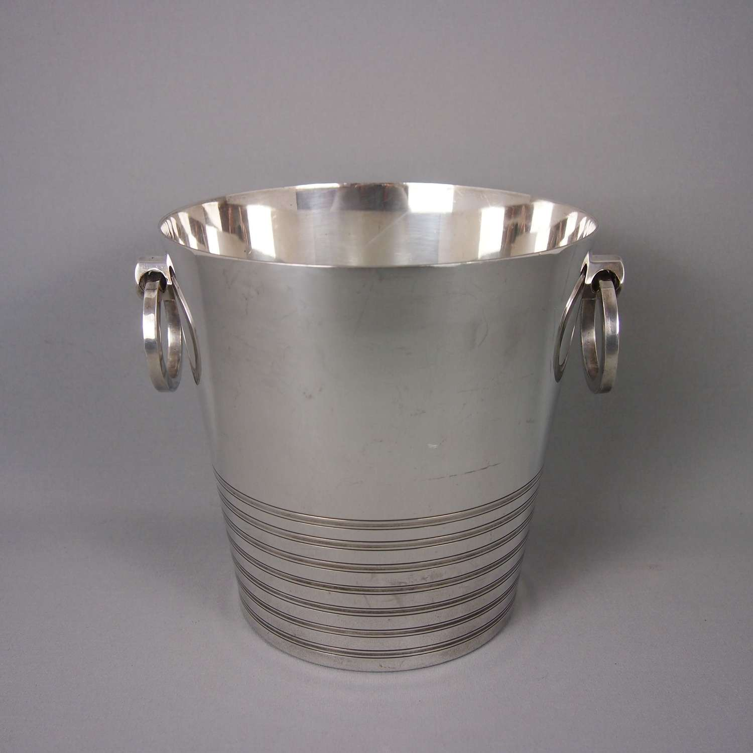 Art Deco Banded Silver Plated Champagne Wine Bucket. W8468