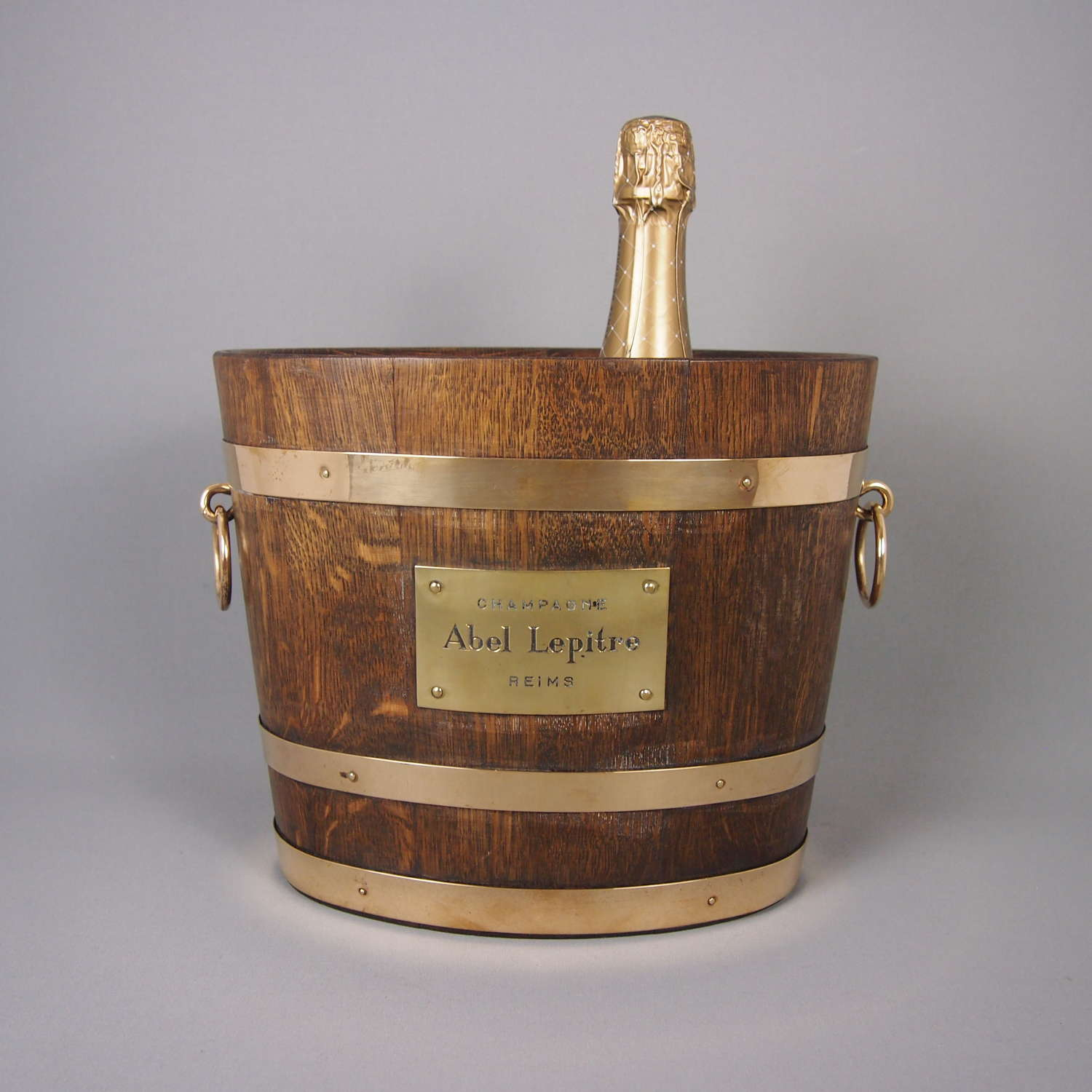 Oak & Brass Banded Vintage Double Champagne Cooler. W8477