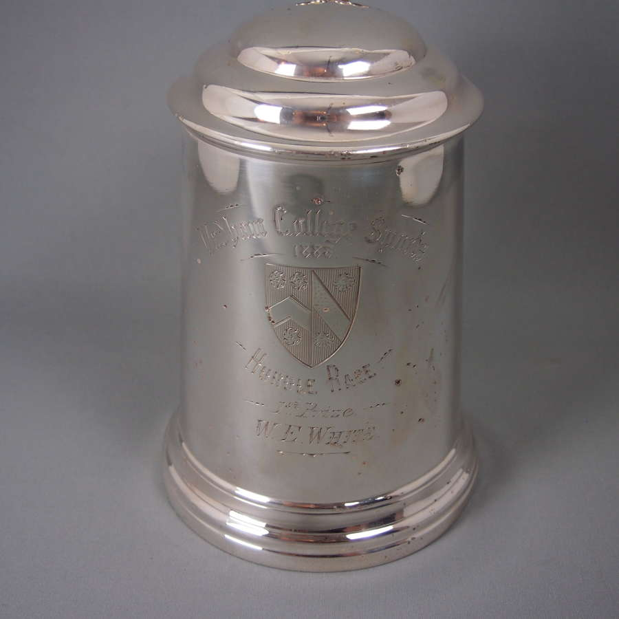Oxford College Extra Large Silver Plated Antique Tankard. W8478