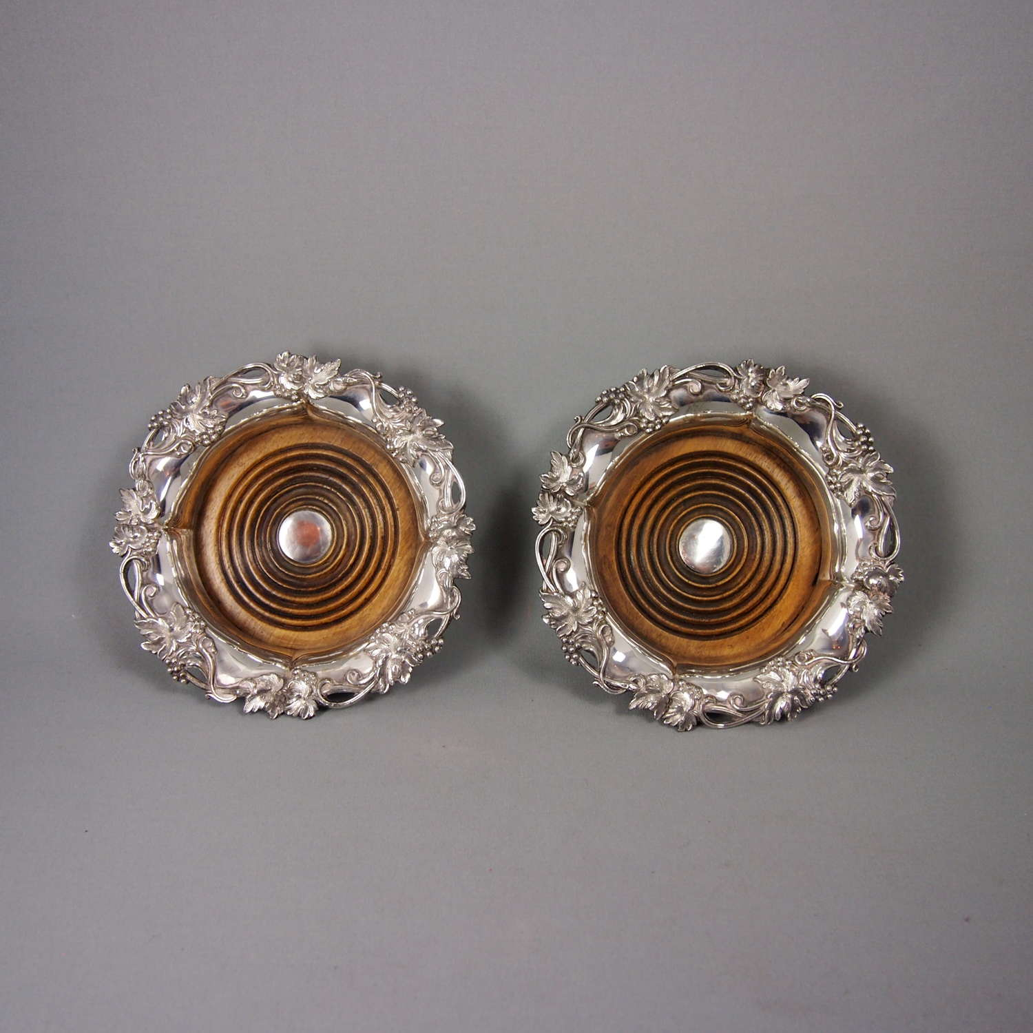 Pair of Silver Plated Victorian Wine Coasters. W8580