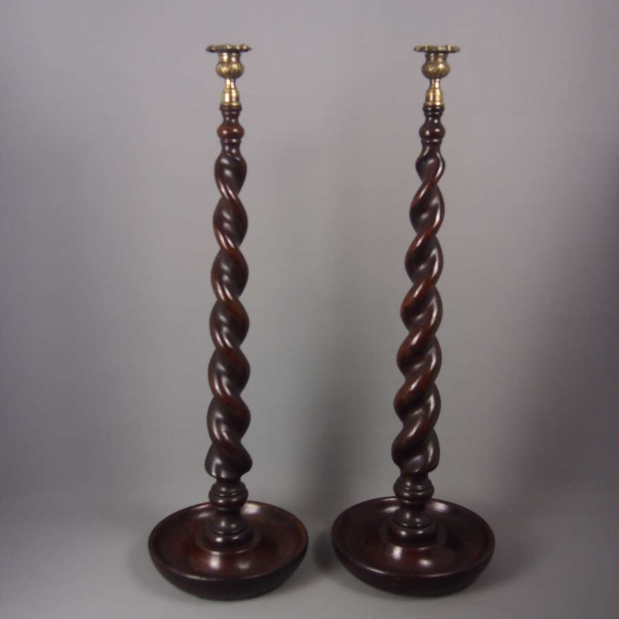 Pair of Victorian Turned wood extra Tall Oak Candlesticks. W8481