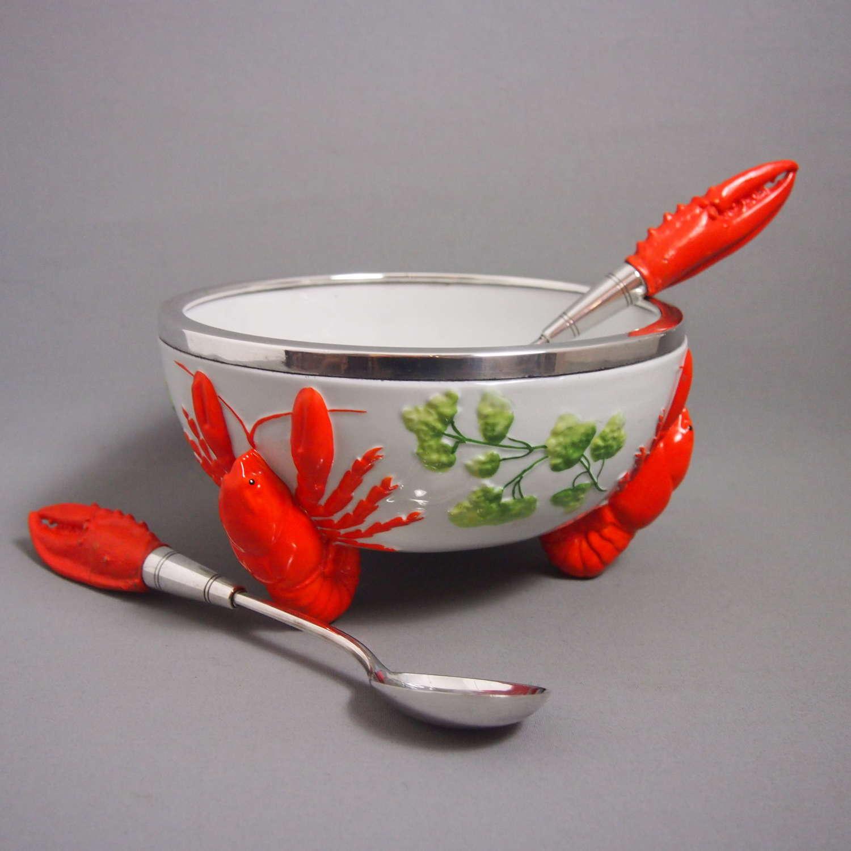 Ceramic Lobster Salad Bowl with Servers C1930s. W8482